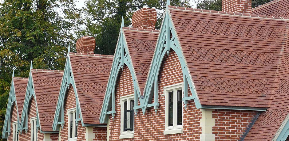 Red handmade clay roof tiles